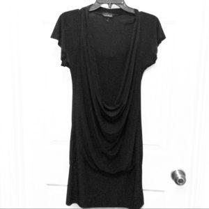Tempted hearts L black draped front cap slv dress